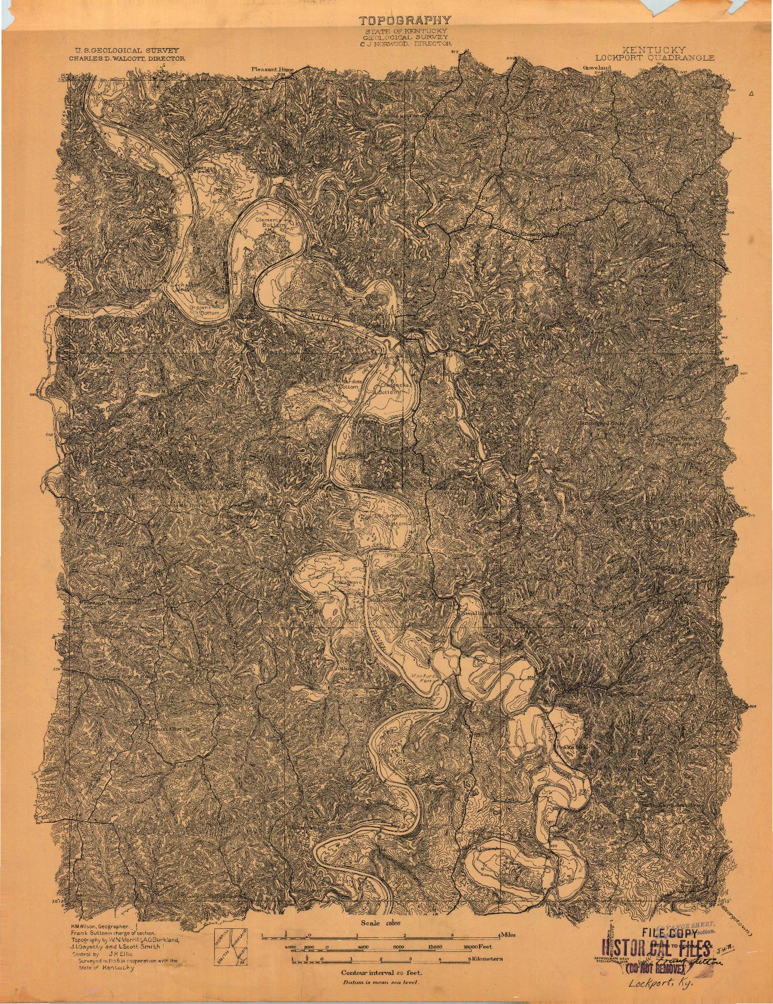 USGS 1:48000-SCALE QUADRANGLE FOR LOCKPORT, KY 1906