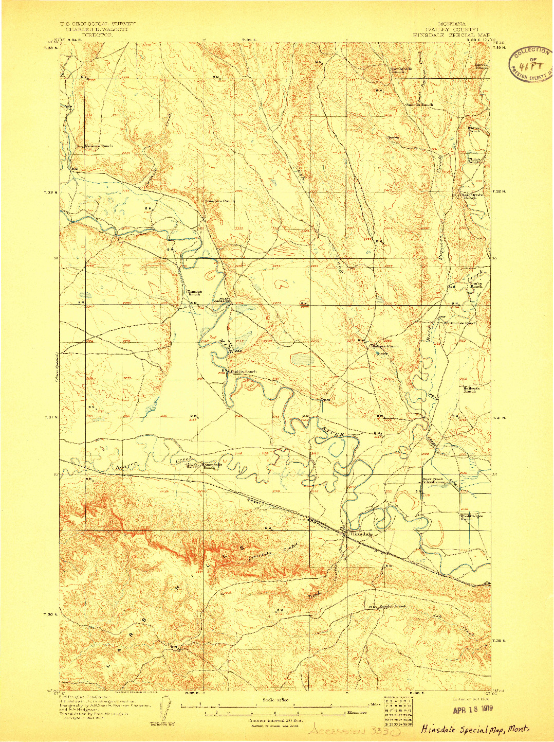 USGS 1:62500-SCALE QUADRANGLE FOR HINSDALE SPECIAL MAP, MT 1906