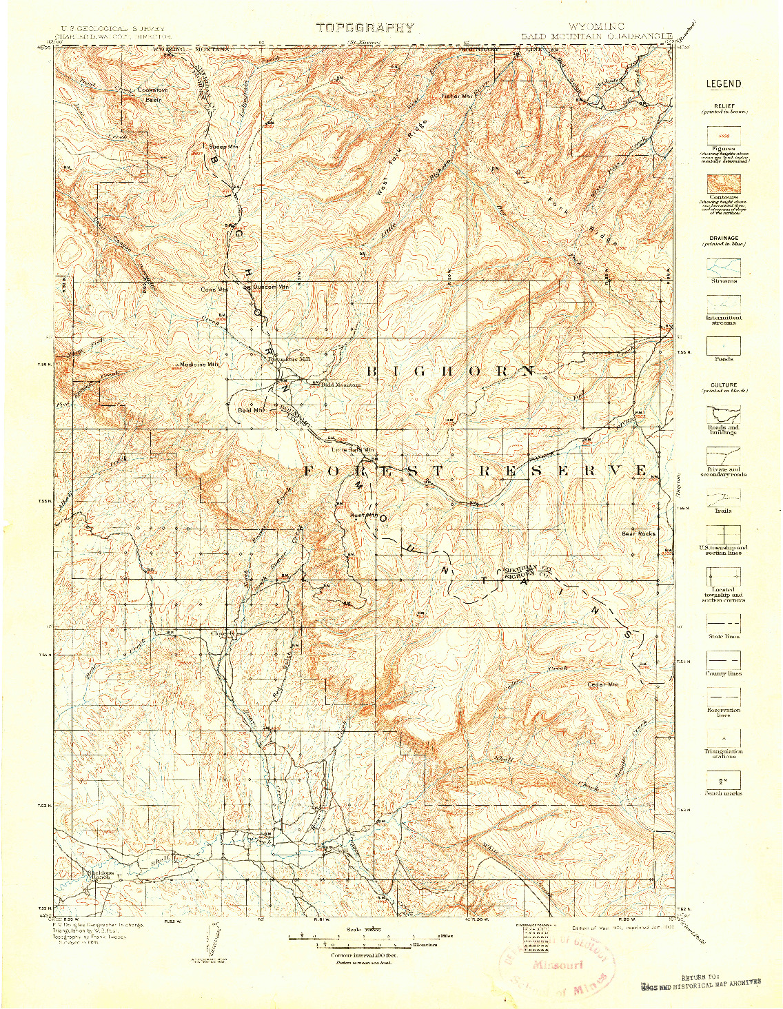 USGS 1:125000-SCALE QUADRANGLE FOR BALD MOUNTAIN, WY 1901