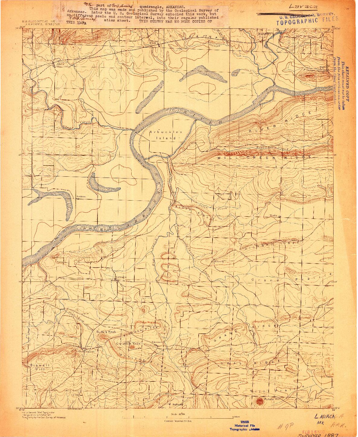 USGS 1:62500-SCALE QUADRANGLE FOR LAVACA, AR 1906