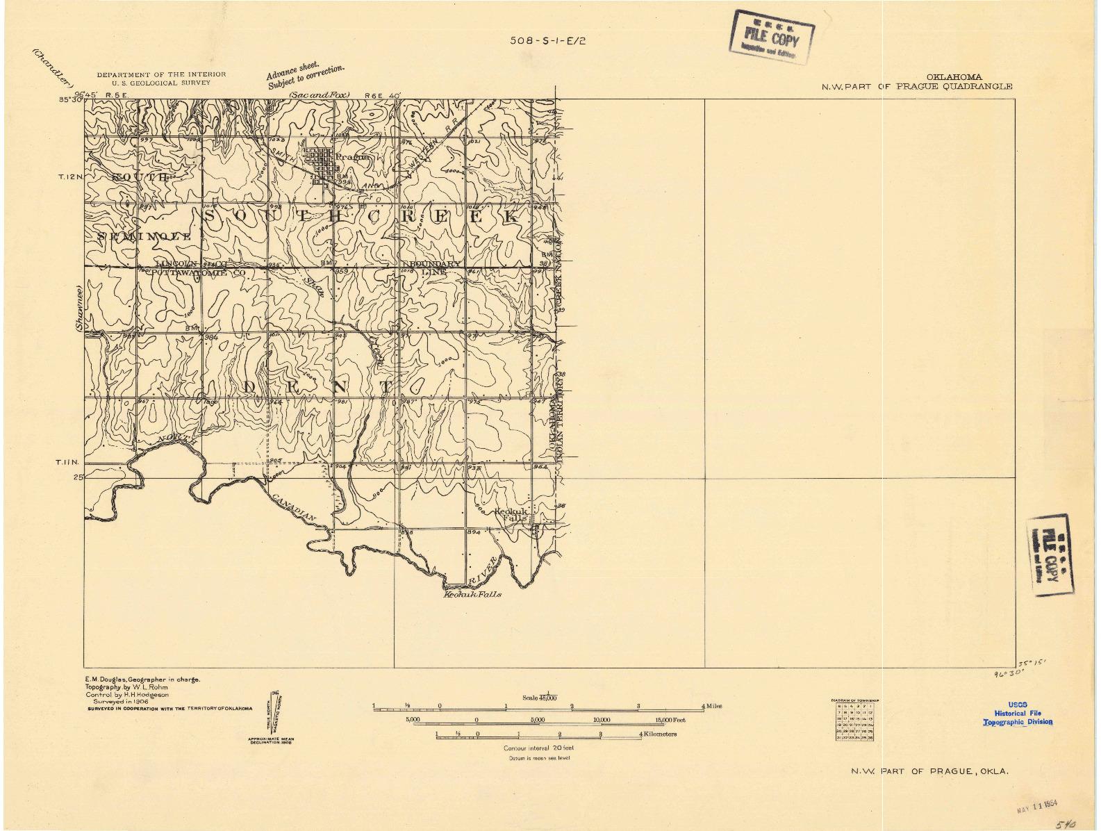 USGS 1:48000-SCALE QUADRANGLE FOR N.W. PART OF PRAGUE, OK 1906