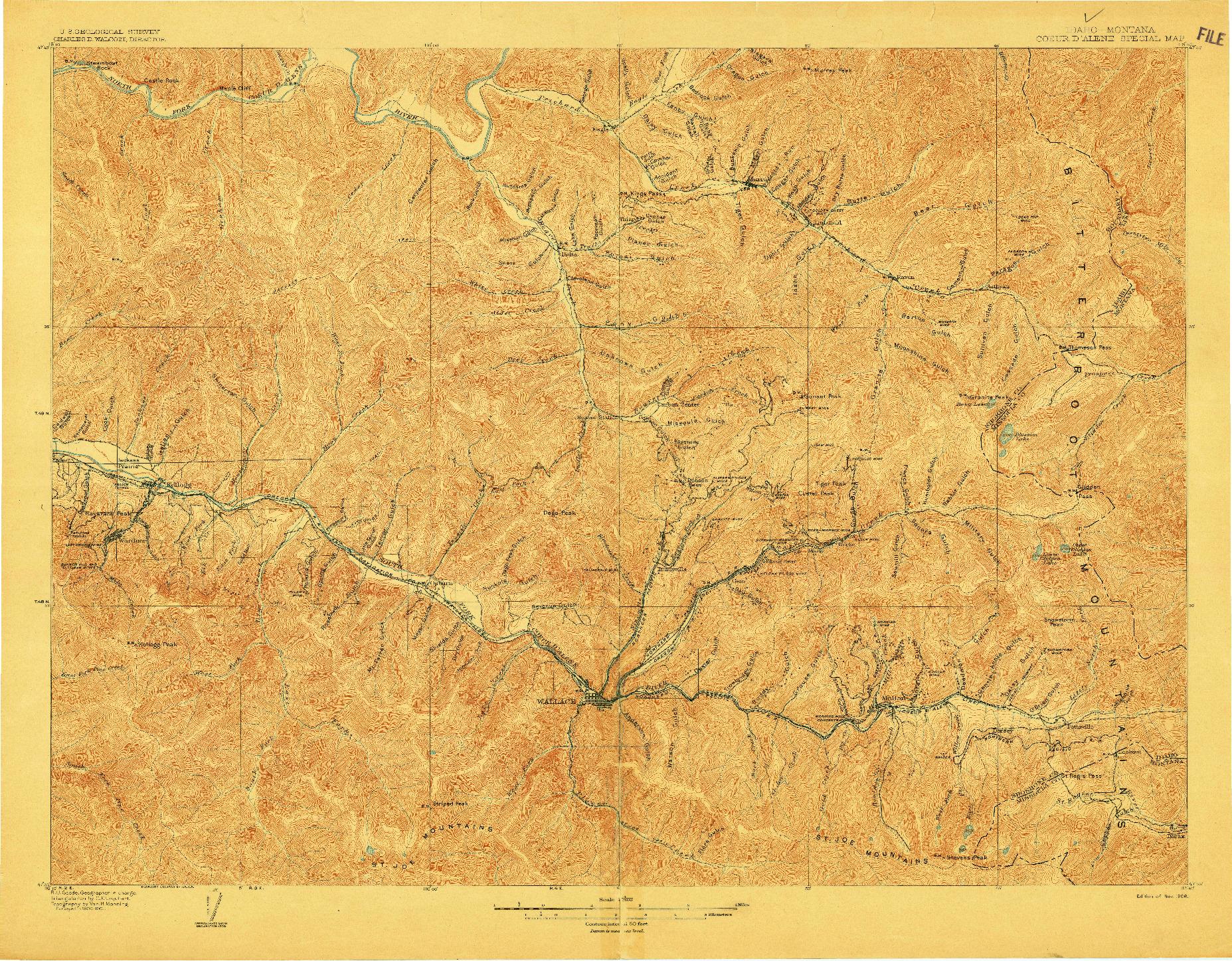 USGS 1:62500-SCALE QUADRANGLE FOR COEUR D'ALENE DISTRICT, ID 1906