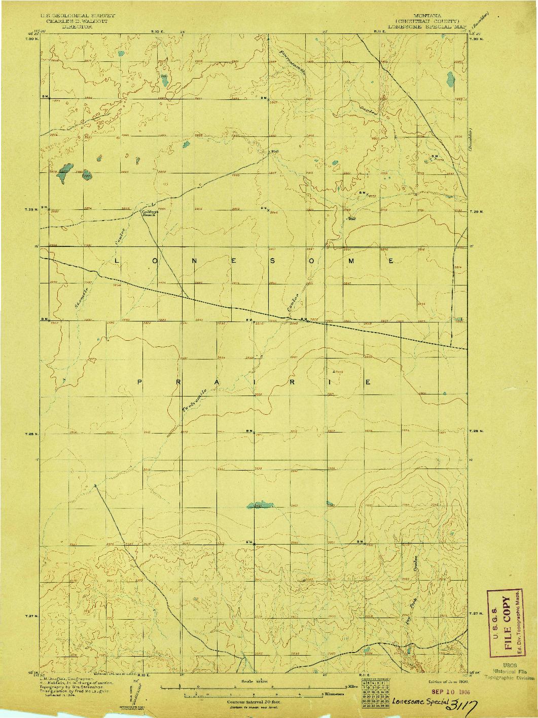 USGS 1:62500-SCALE QUADRANGLE FOR LONESOME, MT 1906