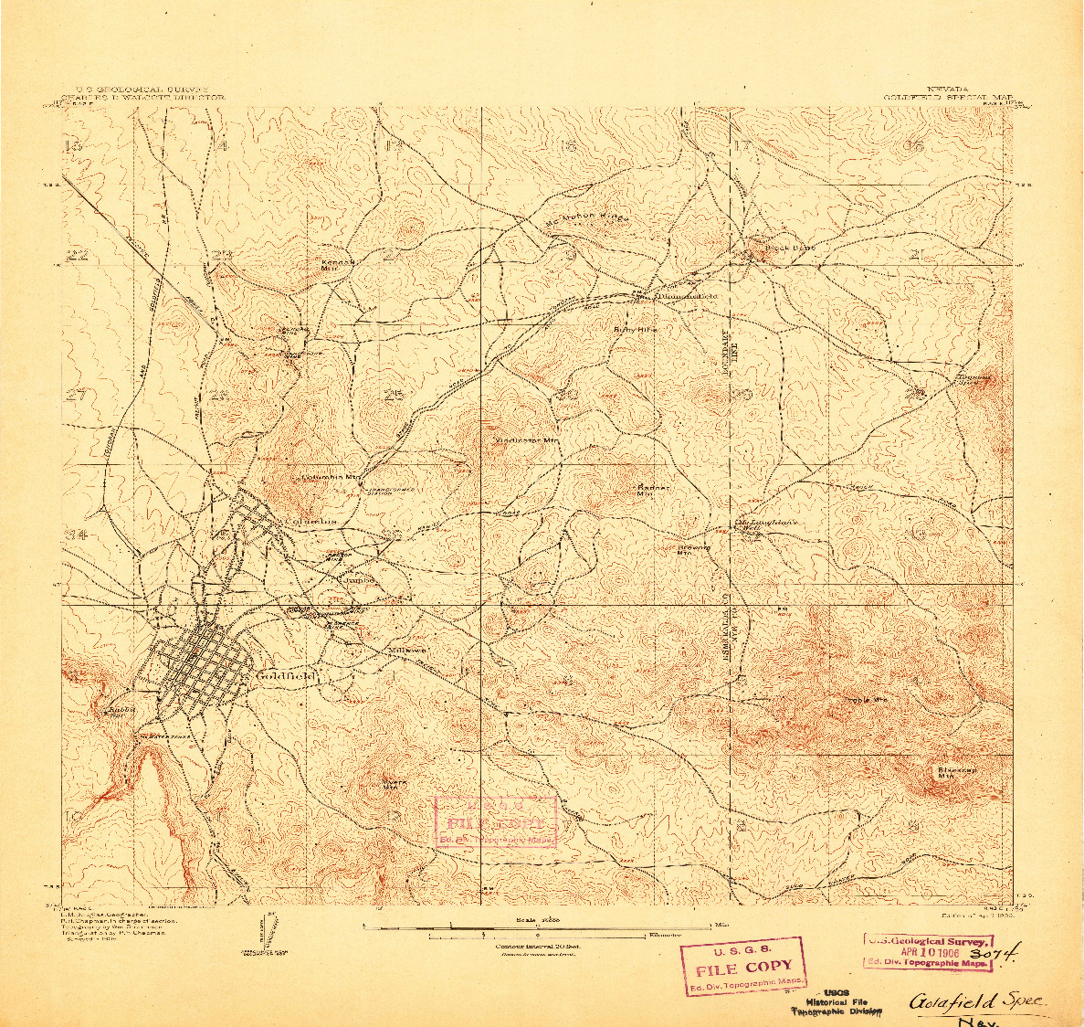 USGS 1:24000-SCALE QUADRANGLE FOR GOLDFIELD, NV 1906