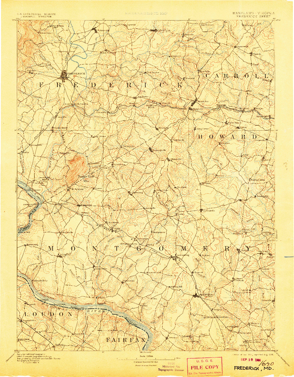 USGS 1:125000-SCALE QUADRANGLE FOR FREDERICK, MD 1894