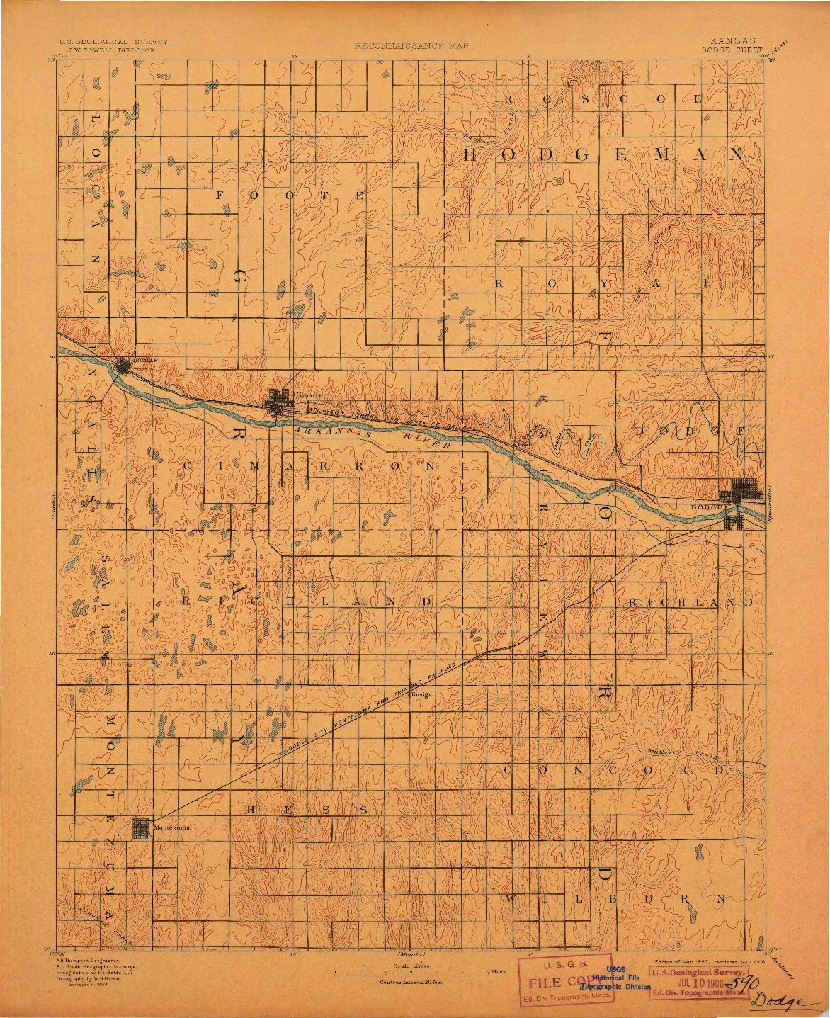 USGS 1:125000-SCALE QUADRANGLE FOR DODGE, KS 1892