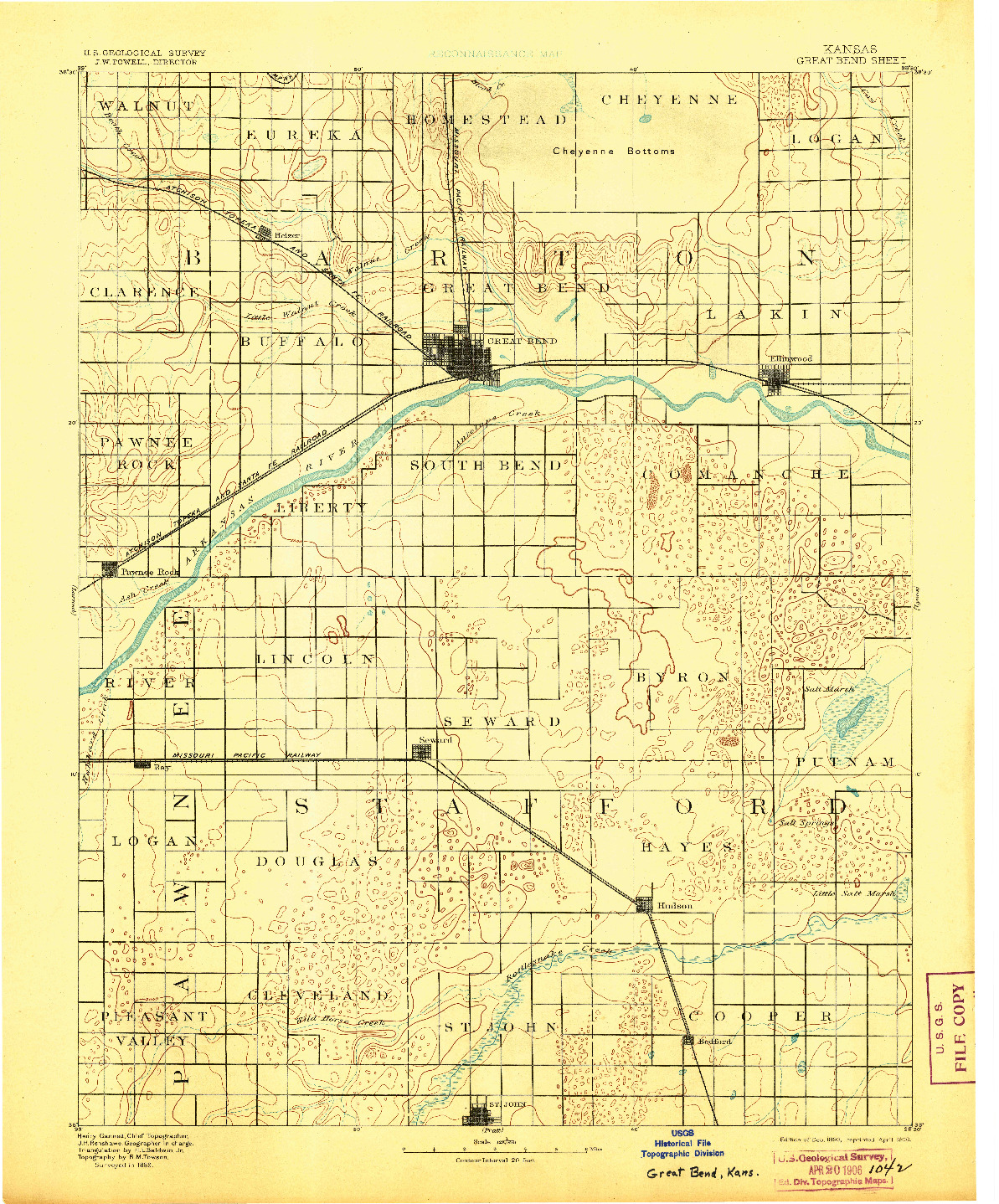 USGS 1:125000-SCALE QUADRANGLE FOR GREAT BEND, KS 1893