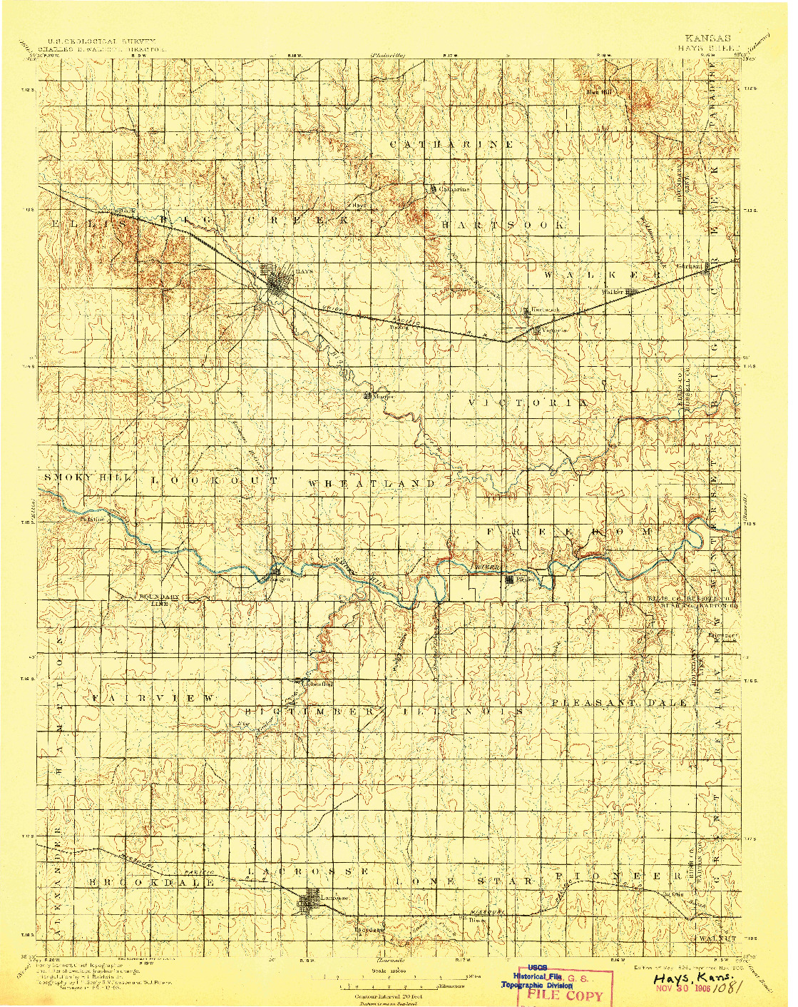 USGS 1:125000-SCALE QUADRANGLE FOR HAYS, KS 1896