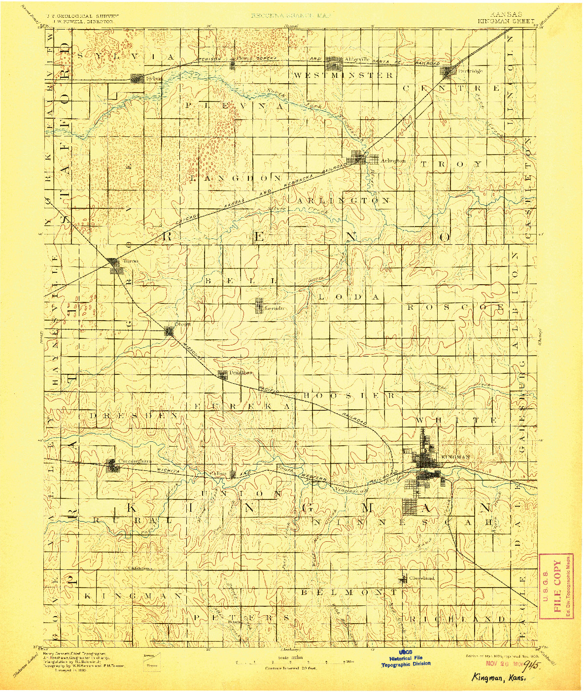 USGS 1:125000-SCALE QUADRANGLE FOR KINGMAN, KS 1894