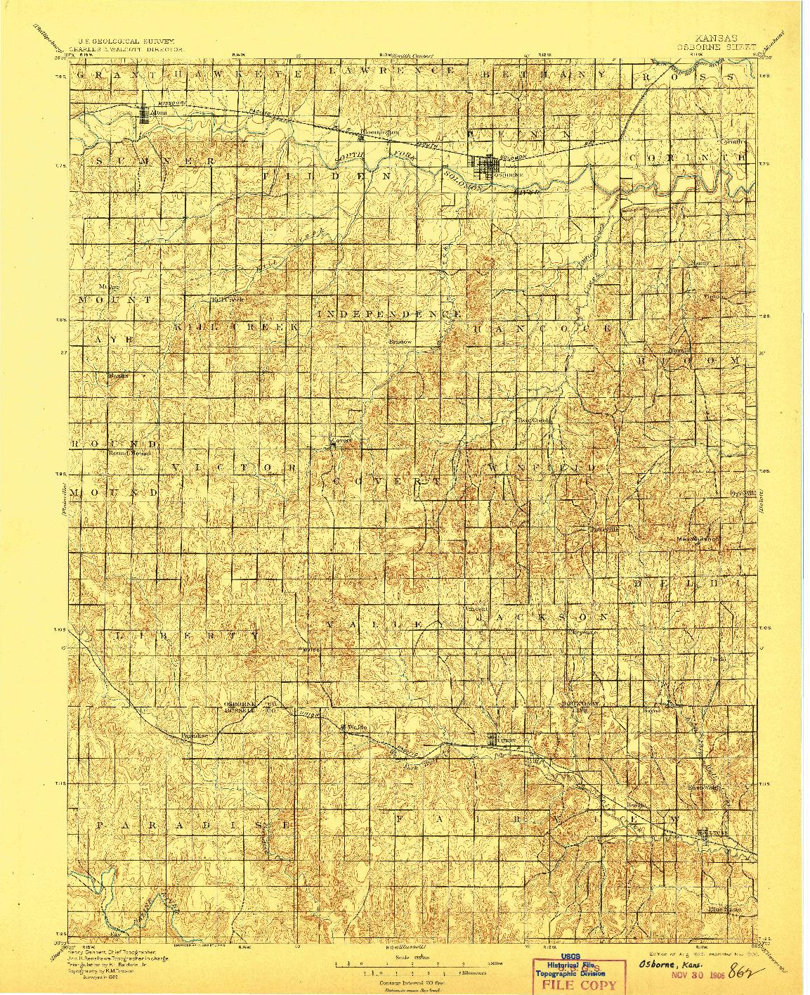 USGS 1:125000-SCALE QUADRANGLE FOR OSBORNE, KS 1896