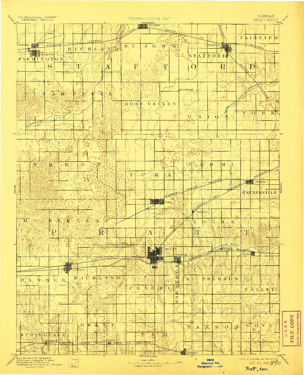 USGS 1:125000-SCALE QUADRANGLE FOR PRATT, KS 1894