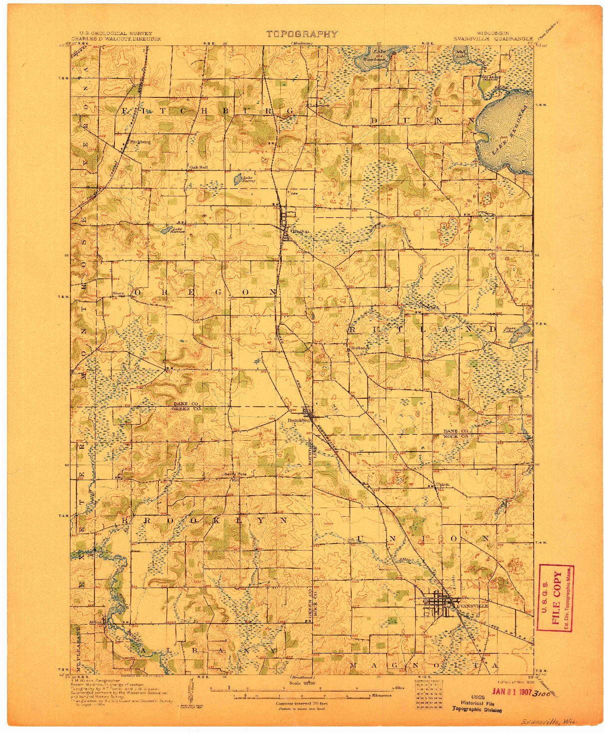USGS 1:62500-SCALE QUADRANGLE FOR EVANSVILLE, WI 1906