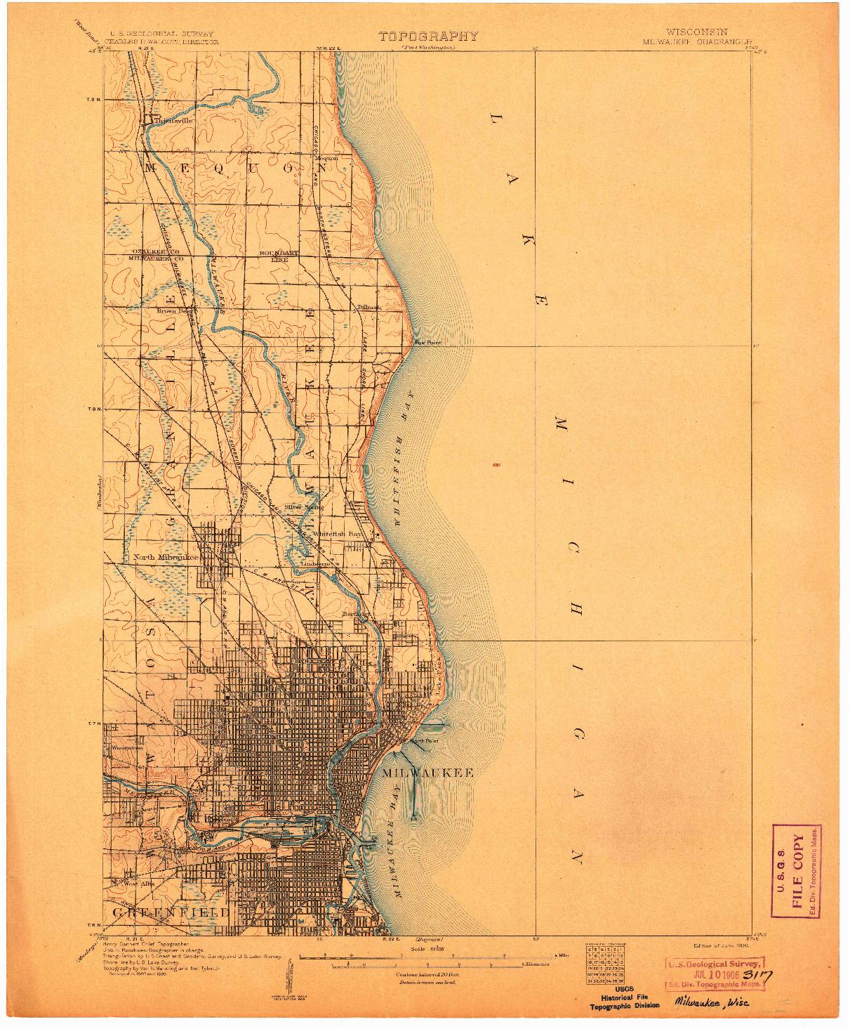 USGS 1:62500-SCALE QUADRANGLE FOR MILWAUKEE, WI 1906