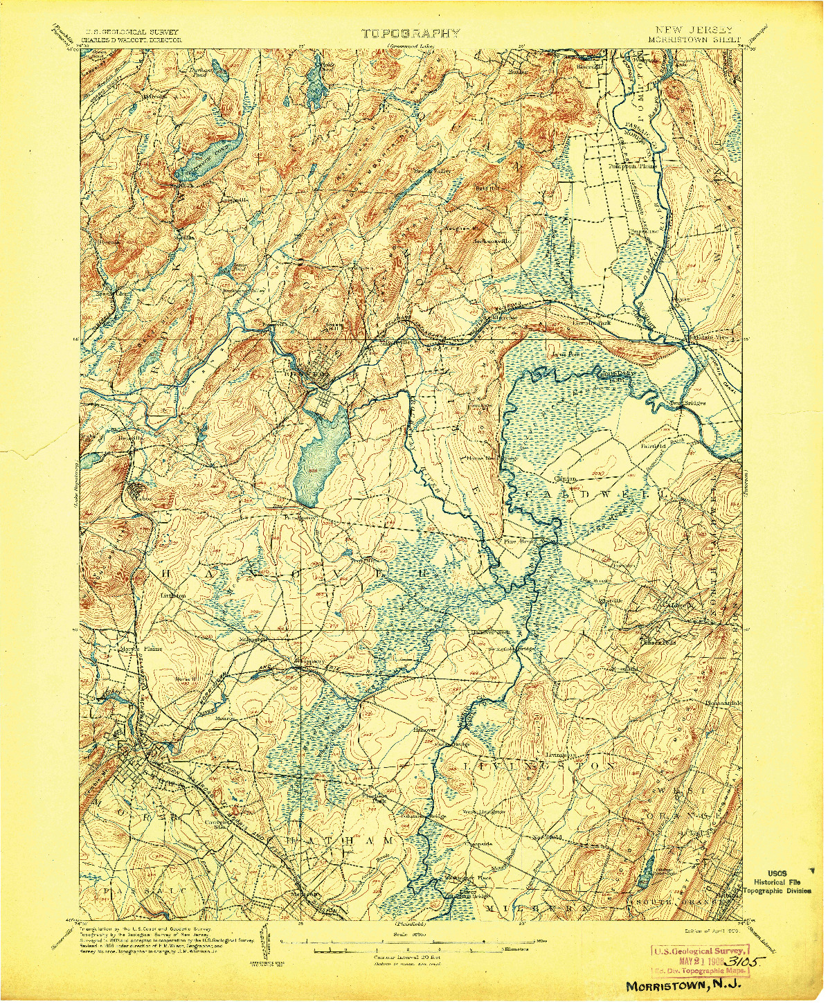 USGS 1:62500-SCALE QUADRANGLE FOR MORRISTOWN, NJ 1906