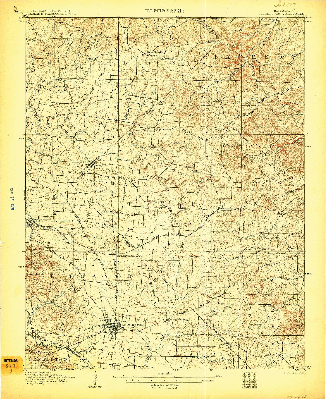USGS 1:62500-SCALE QUADRANGLE FOR FARMINGTON, MO 1906