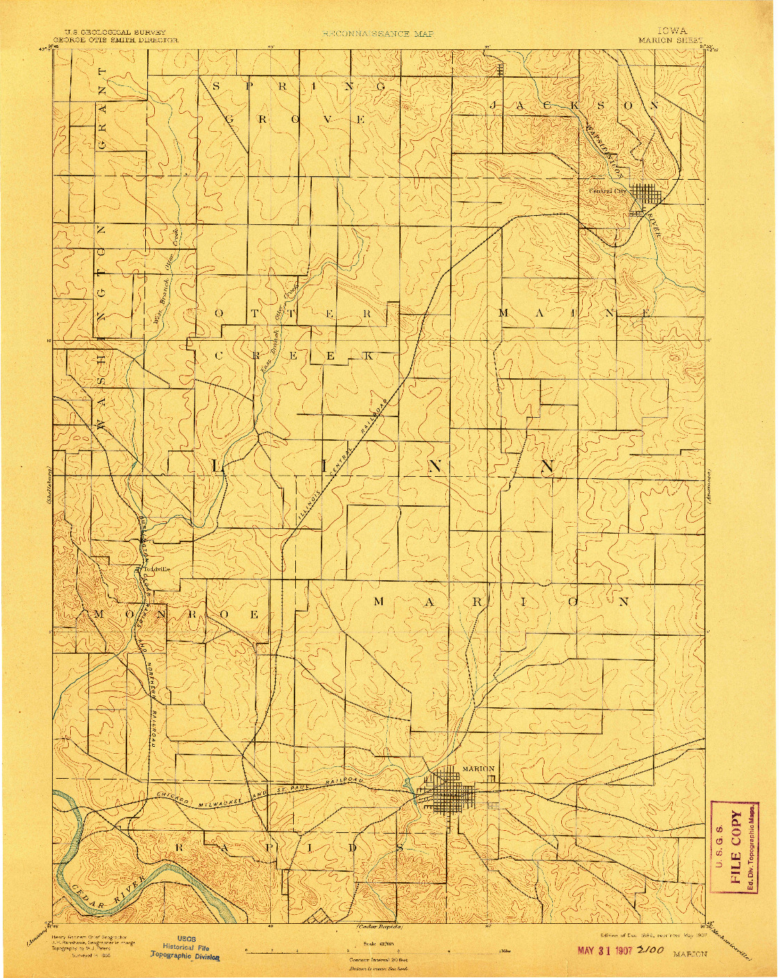 USGS 1:62500-SCALE QUADRANGLE FOR MARION, IA 1889