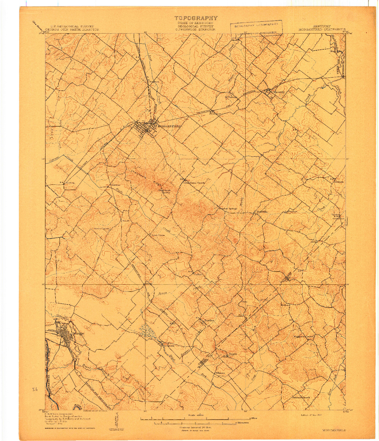 USGS 1:62500-SCALE QUADRANGLE FOR MORGANFIELD, KY 1907