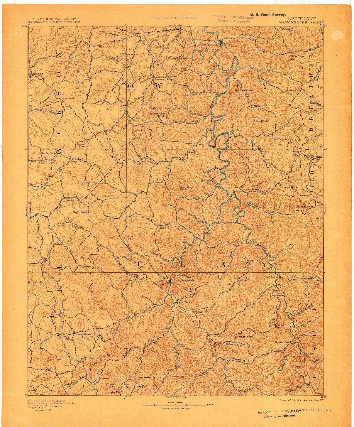 USGS 1:125000-SCALE QUADRANGLE FOR MANCHESTER, KY 1891