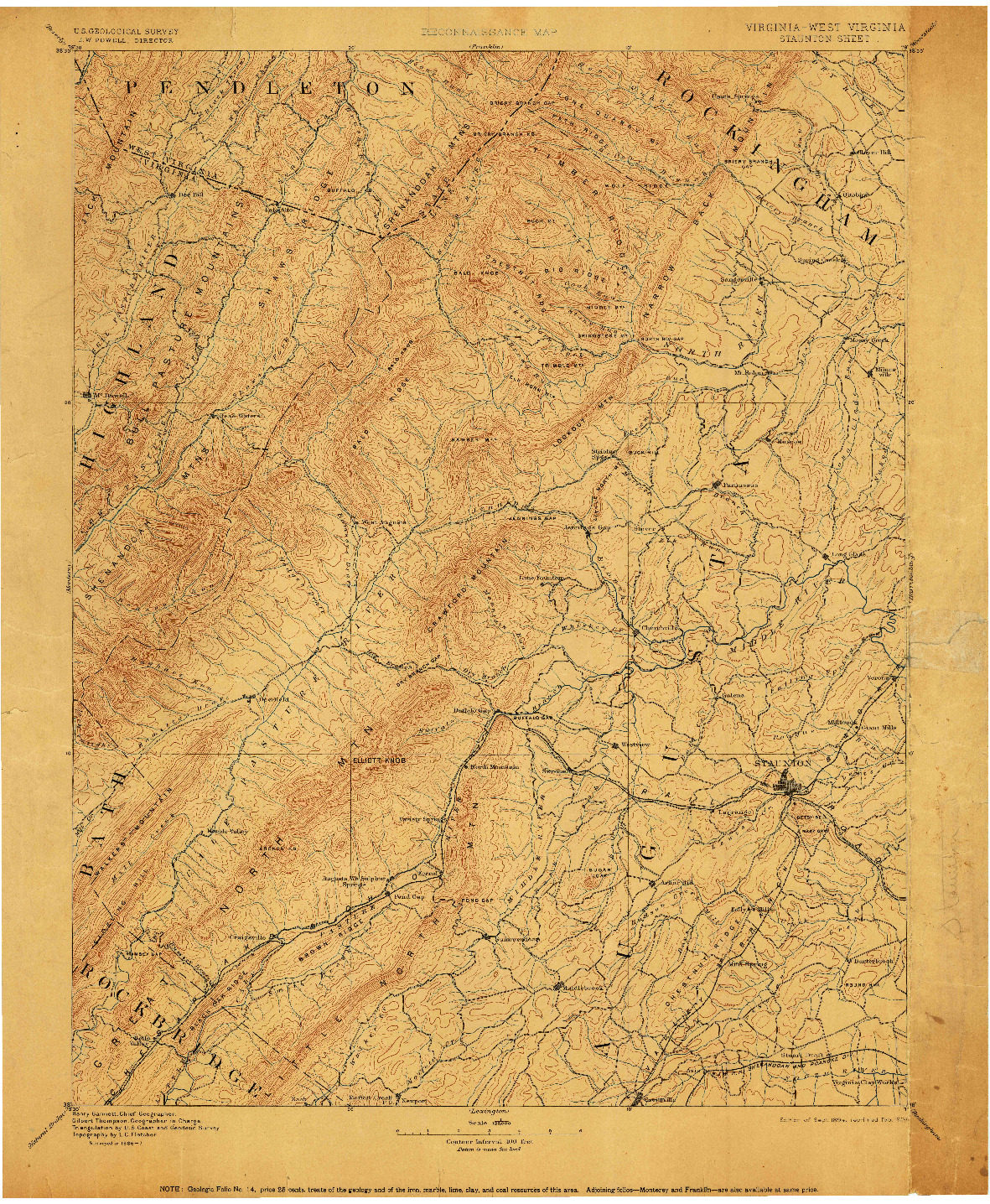 USGS 1:125000-SCALE QUADRANGLE FOR STAUNTON, VA 1894