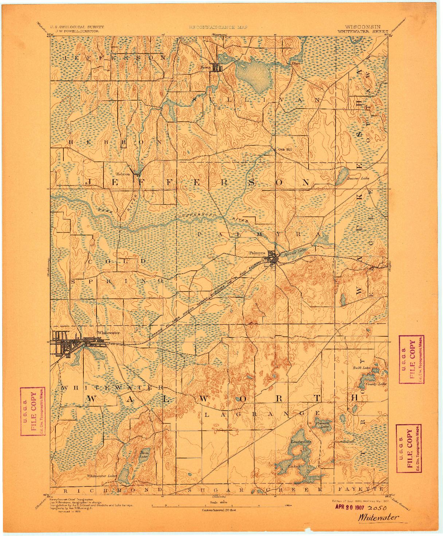 USGS 1:62500-SCALE QUADRANGLE FOR WHITEWATER, WI 1893