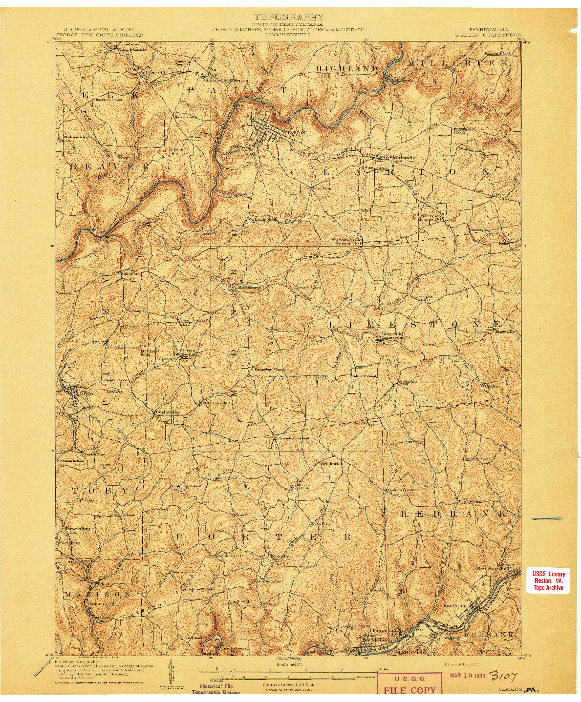 USGS 1:62500-SCALE QUADRANGLE FOR CLARION, PA 1907