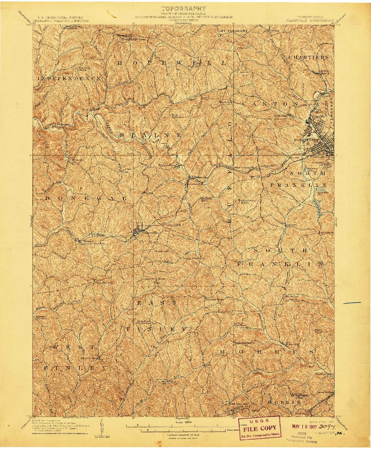 USGS 1:62500-SCALE QUADRANGLE FOR CLAYSVILLE, PA 1907