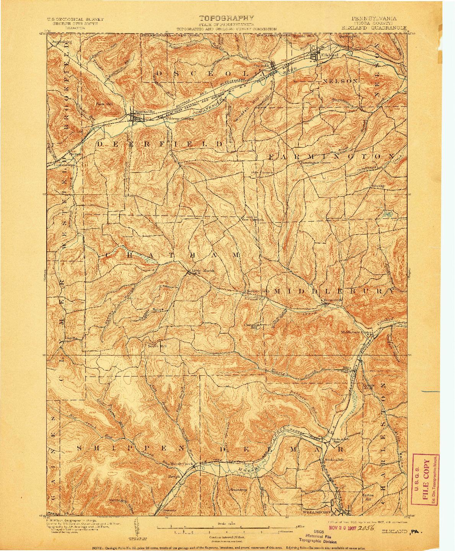 USGS 1:62500-SCALE QUADRANGLE FOR ELKLAND, PA 1900
