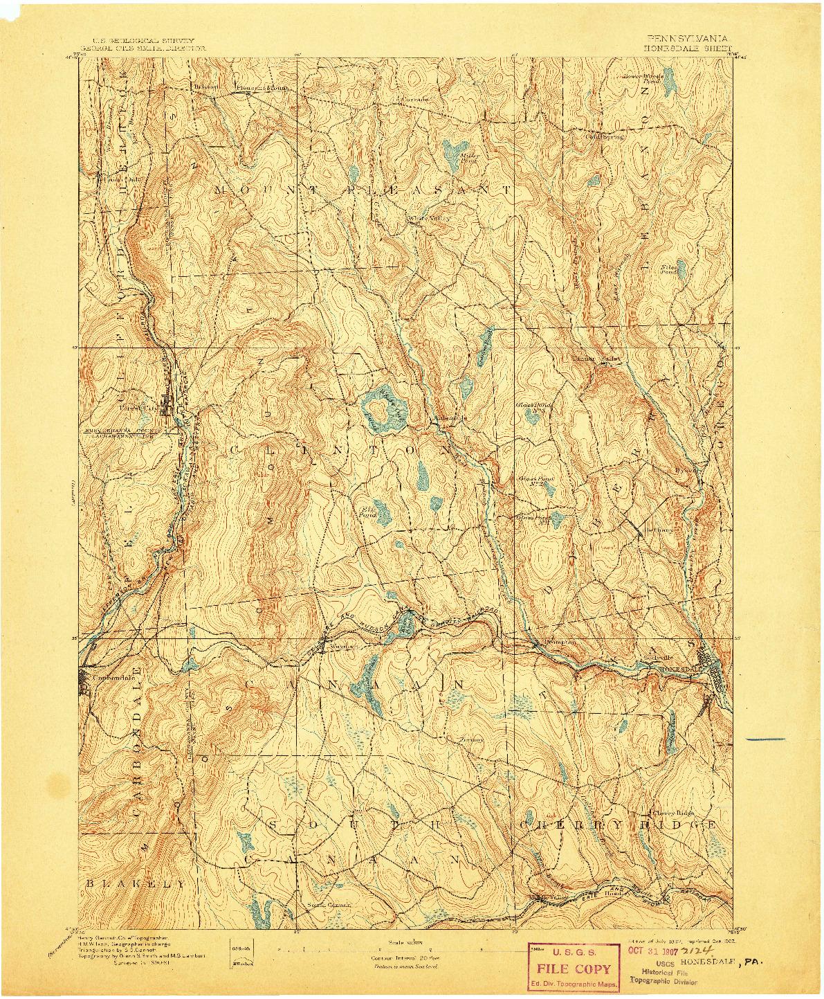 USGS 1:62500-SCALE QUADRANGLE FOR HONESDALE, PA 1892