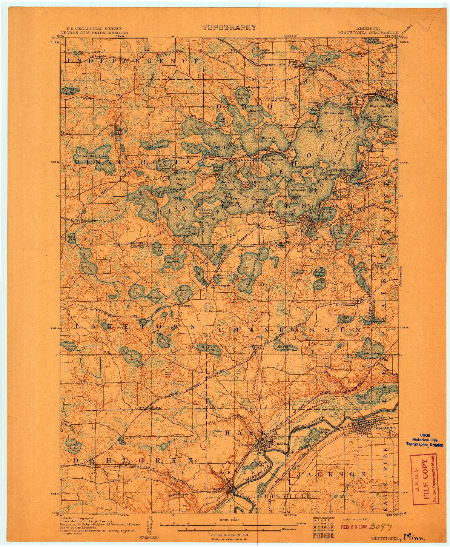 USGS 1:62500-SCALE QUADRANGLE FOR MINNETONKA, MN 1907