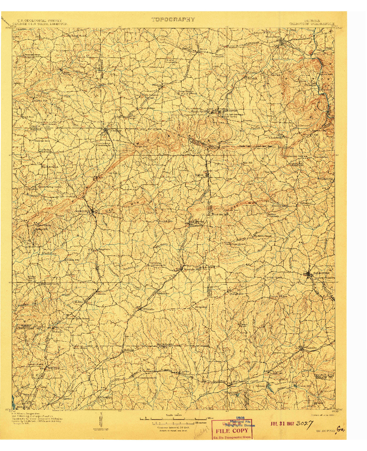 USGS 1:125000-SCALE QUADRANGLE FOR TALBOTTON, GA 1907