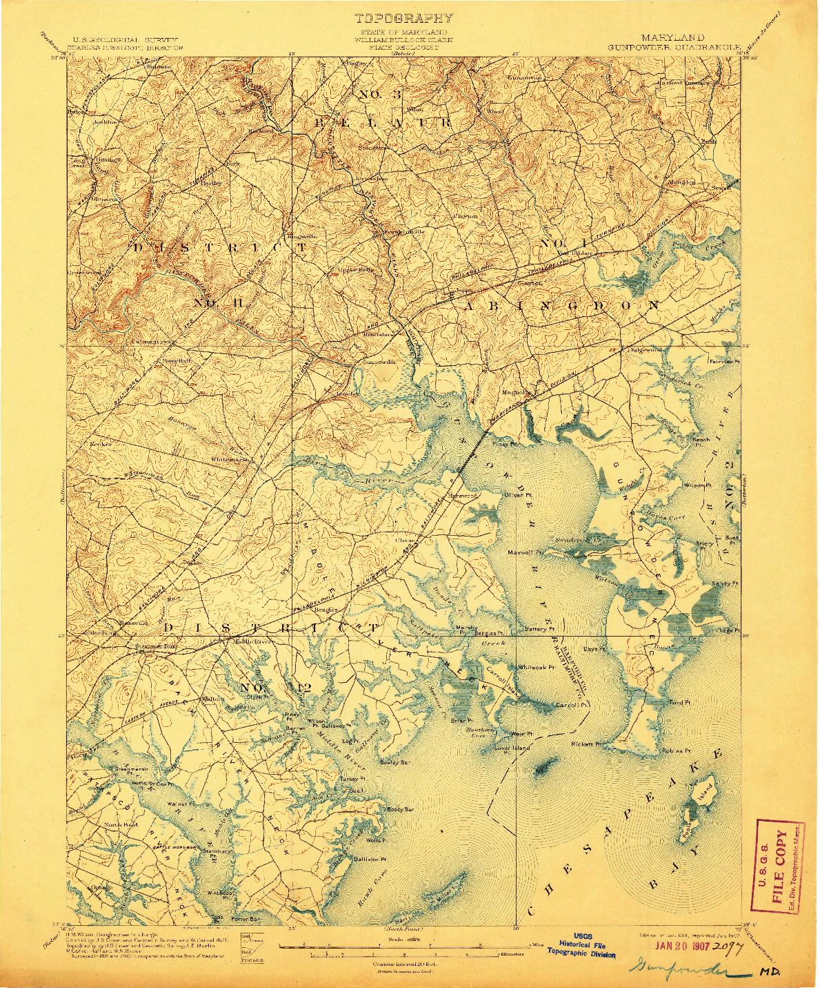USGS 1:62500-SCALE QUADRANGLE FOR GUNPOWDER, MD 1901