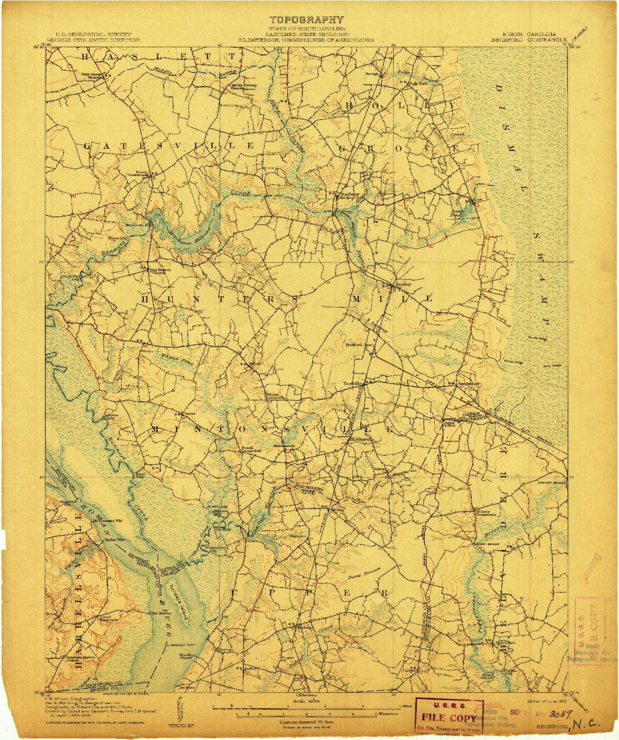 USGS 1:62500-SCALE QUADRANGLE FOR BECKFORD, NC 1907
