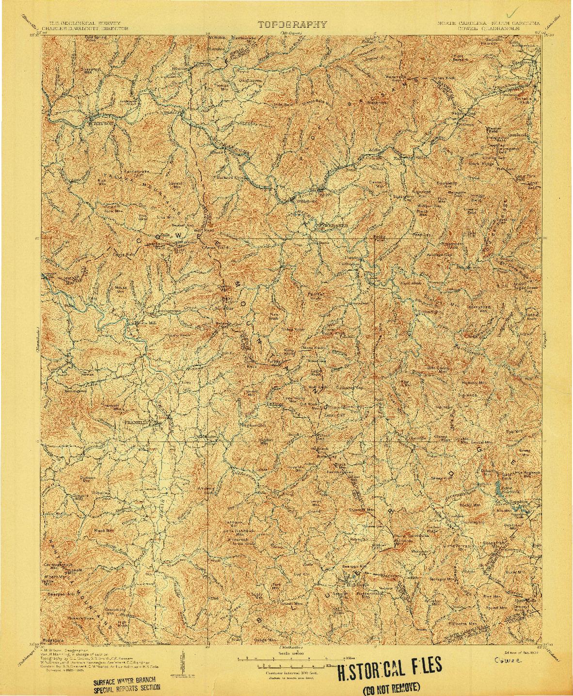 USGS 1:125000-SCALE QUADRANGLE FOR COWEE, NC 1907