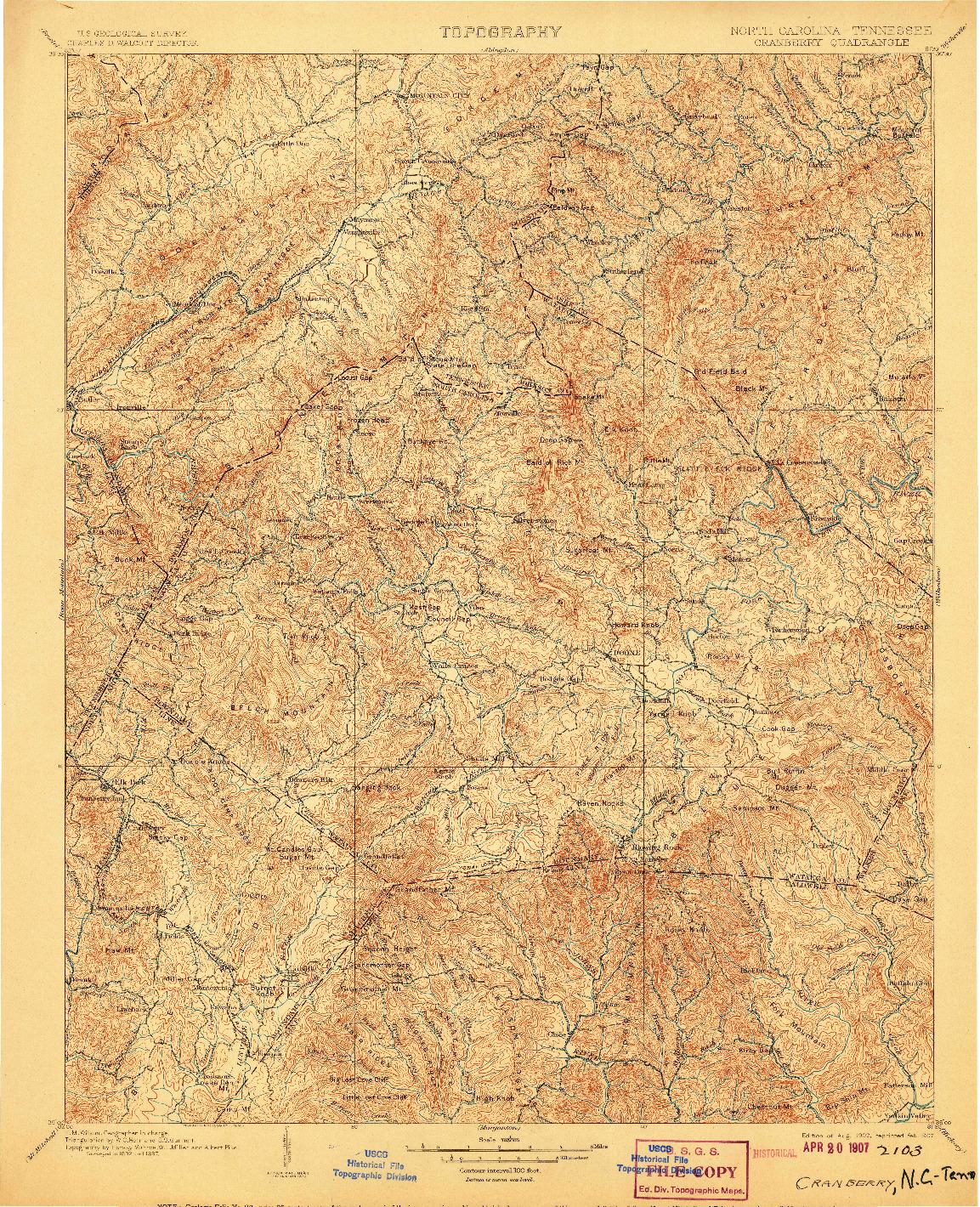 USGS 1:125000-SCALE QUADRANGLE FOR CRANBERRY, NC 1902