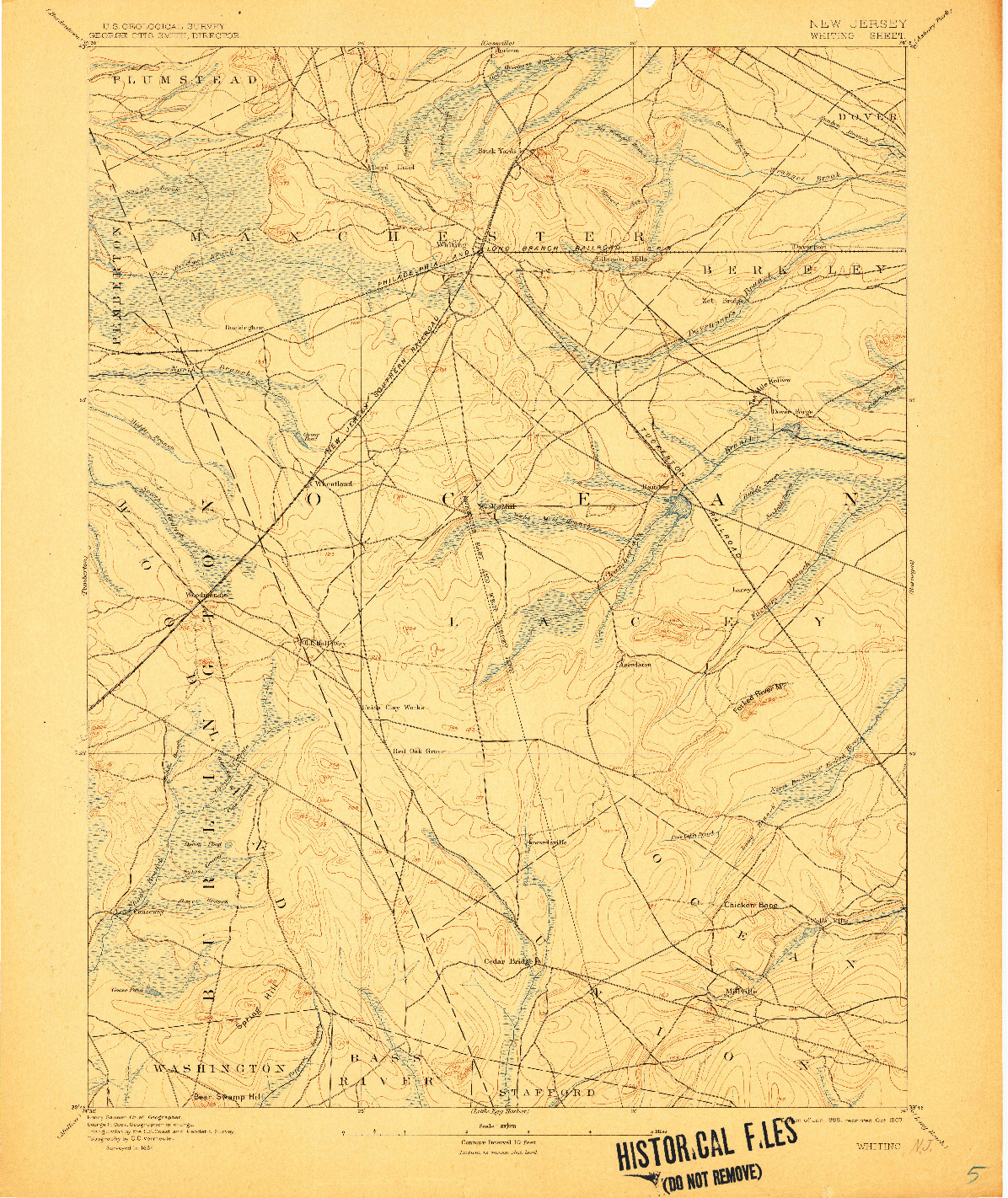 USGS 1:62500-SCALE QUADRANGLE FOR WHITING, NJ 1888