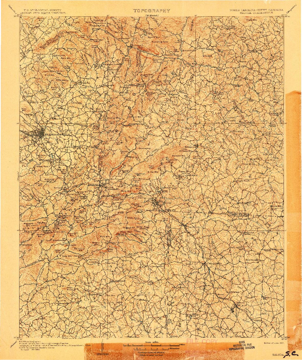 USGS 1:125000-SCALE QUADRANGLE FOR SALUDA, SC 1907