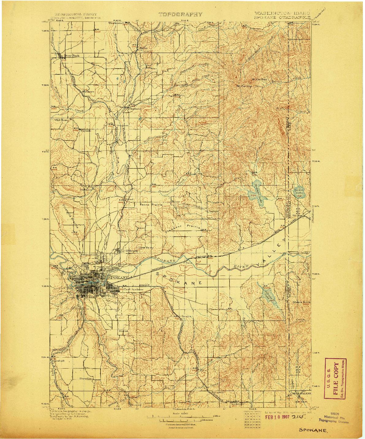 USGS 1:125000-SCALE QUADRANGLE FOR SPOKANE, WA 1901