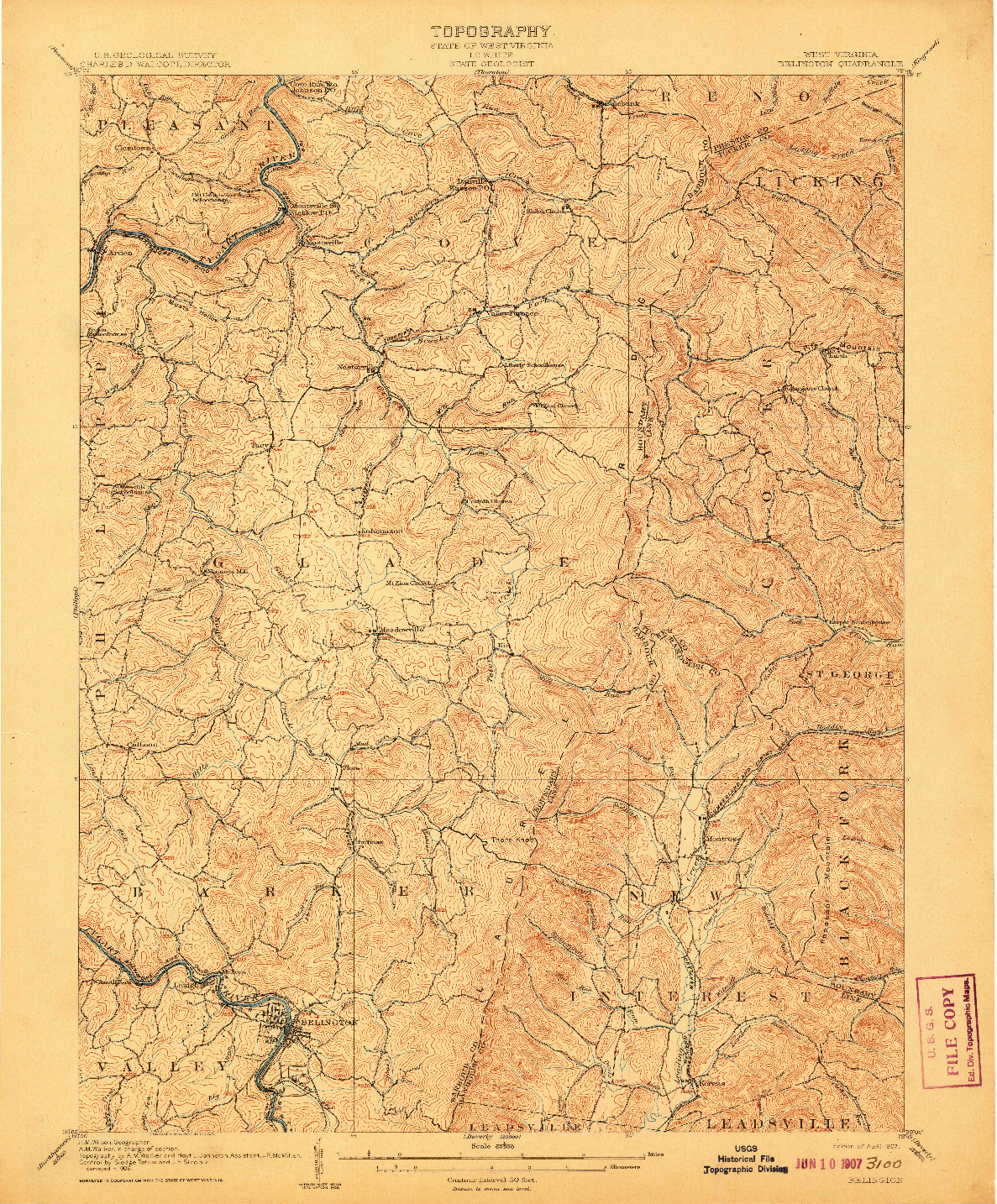 USGS 1:62500-SCALE QUADRANGLE FOR BELINGTON, WV 1907