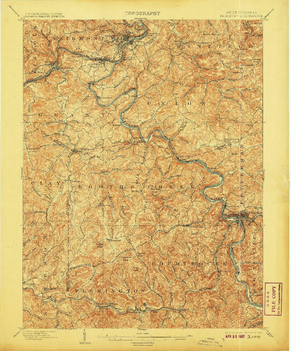 USGS 1:62500-SCALE QUADRANGLE FOR FAIRMONT, WV 1902