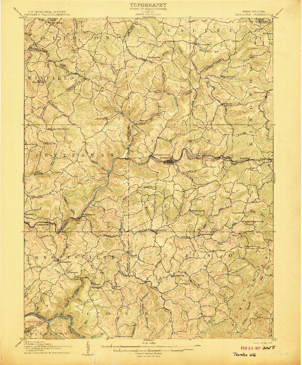USGS 1:62500-SCALE QUADRANGLE FOR THORNTON, WV 1907