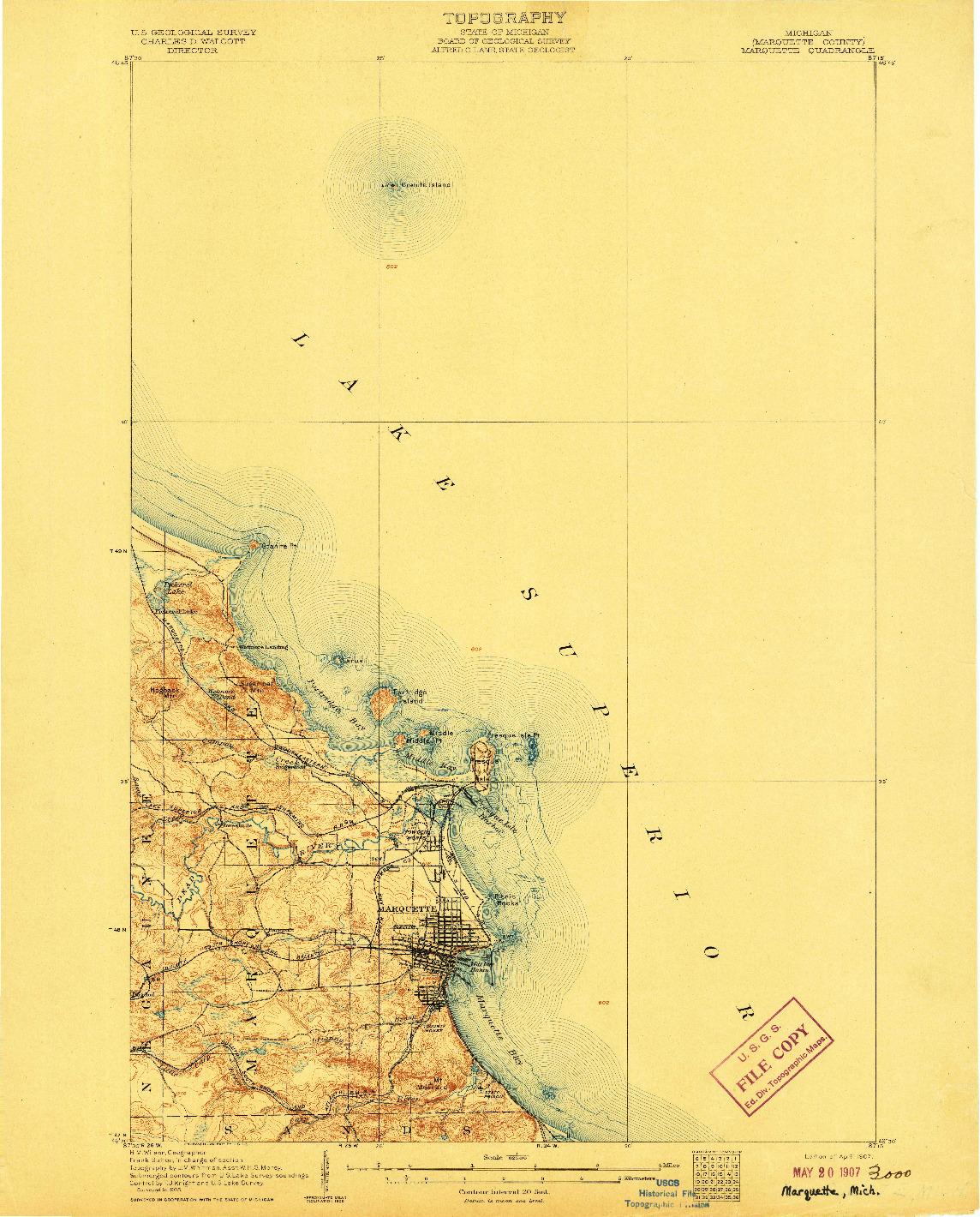 USGS 1:62500-SCALE QUADRANGLE FOR MARQUETTE, MI 1907