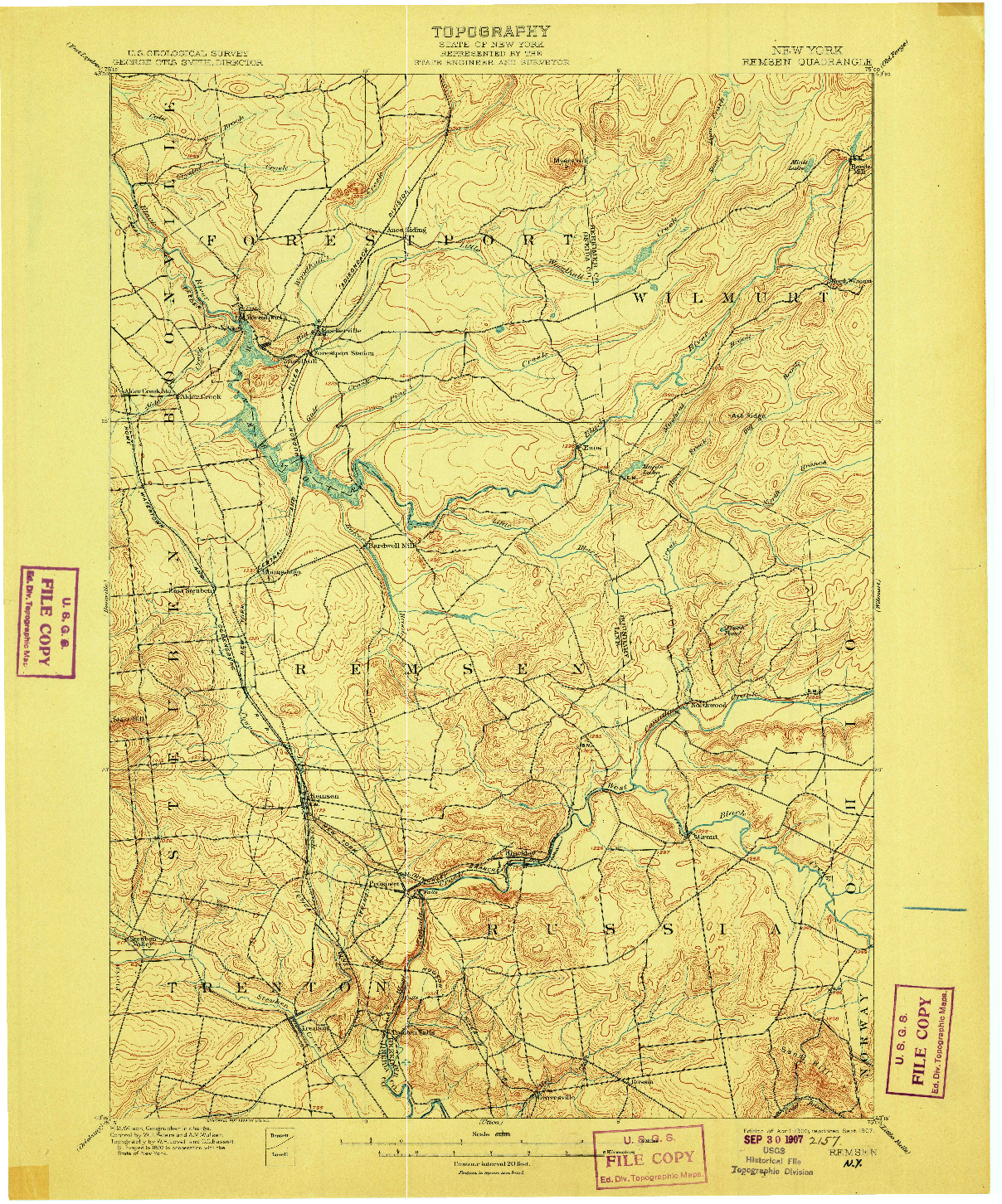 USGS 1:62500-SCALE QUADRANGLE FOR REMSEN, NY 1900