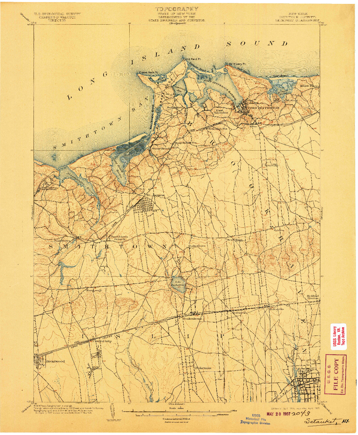 USGS 1:62500-SCALE QUADRANGLE FOR SETAUKET, NY 1904
