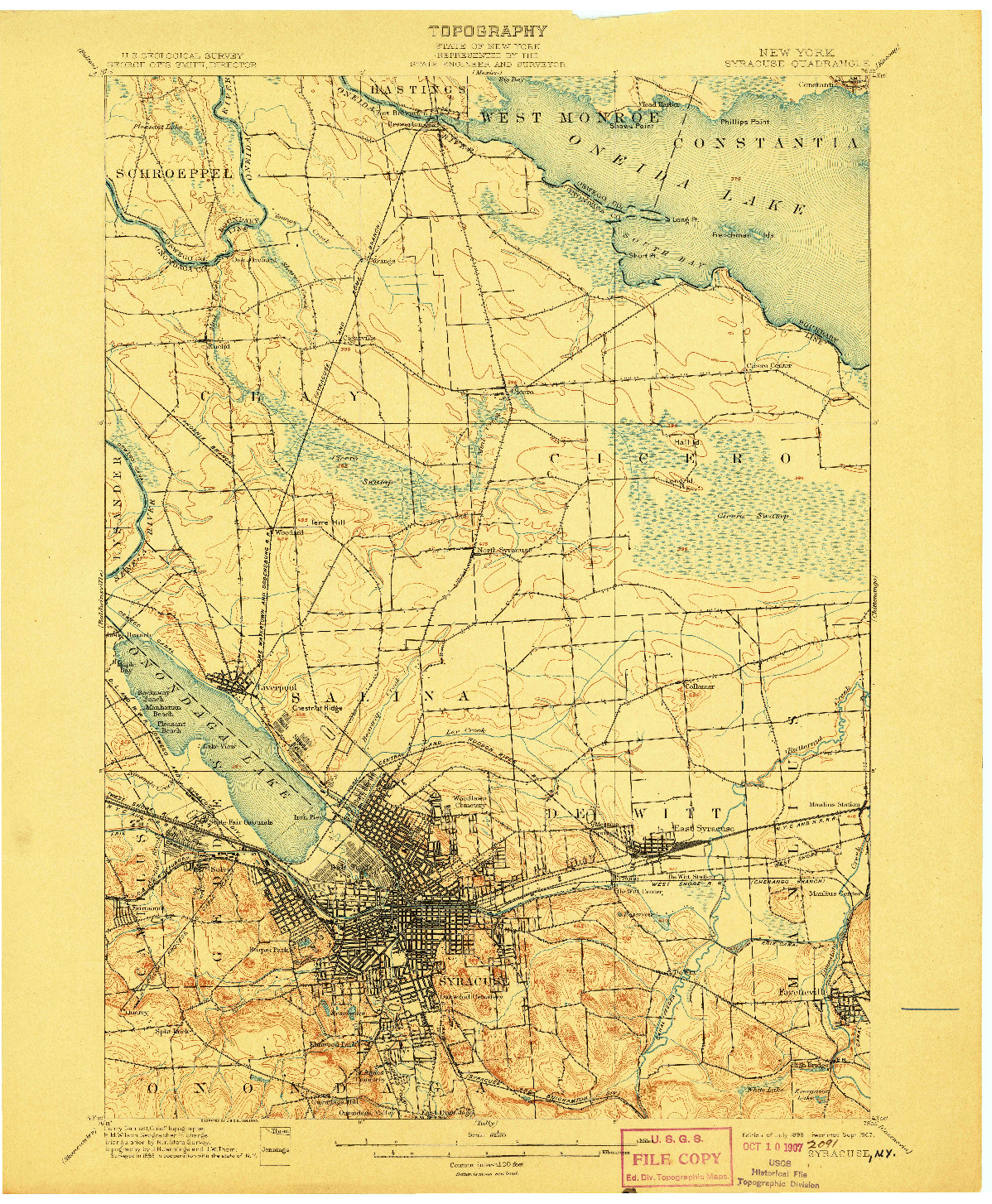 USGS 1:62500-SCALE QUADRANGLE FOR SYRACUSE, NY 1898