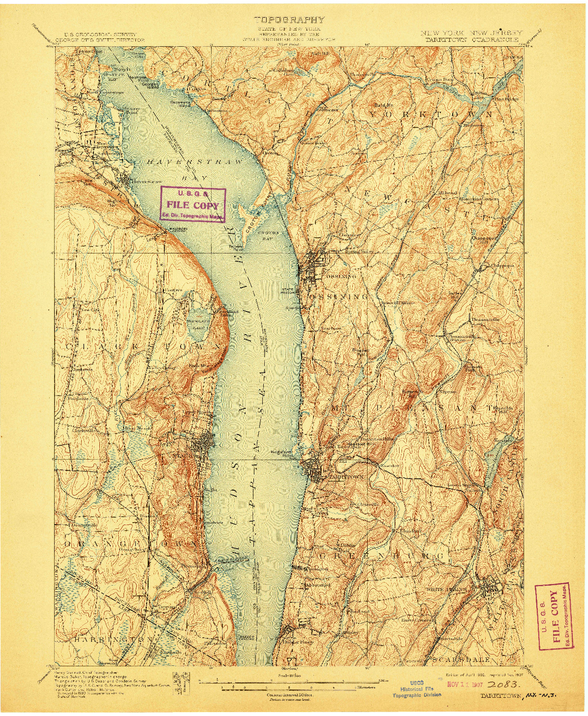 USGS 1:62500-SCALE QUADRANGLE FOR TARRYTOWN, NY 1902
