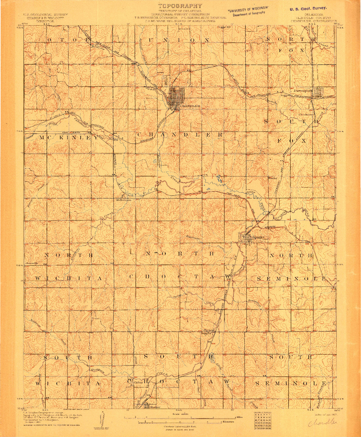 USGS 1:62500-SCALE QUADRANGLE FOR CHANDLER, OK 1907