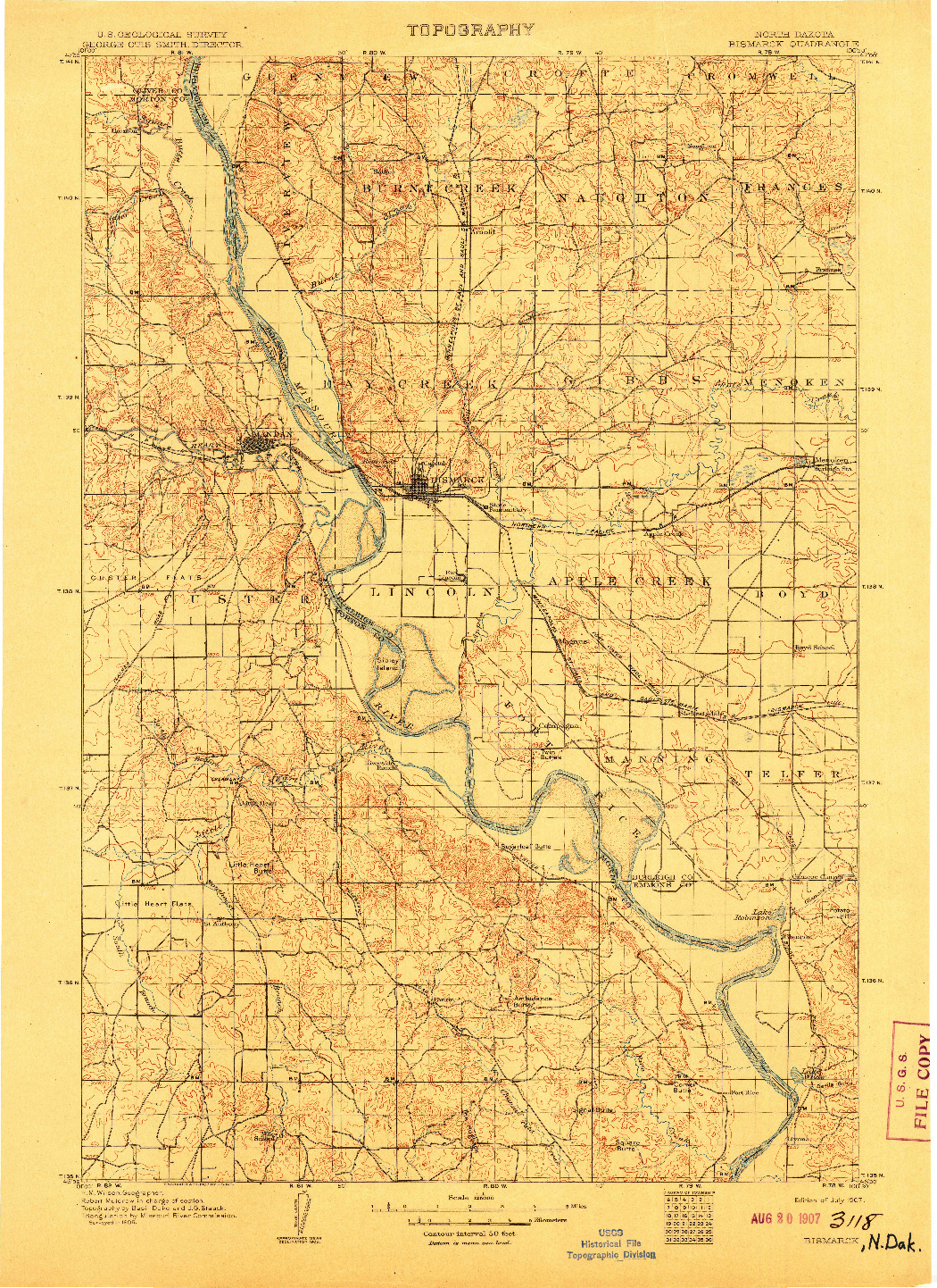 USGS 1:125000-SCALE QUADRANGLE FOR BISMARCK, ND 1907