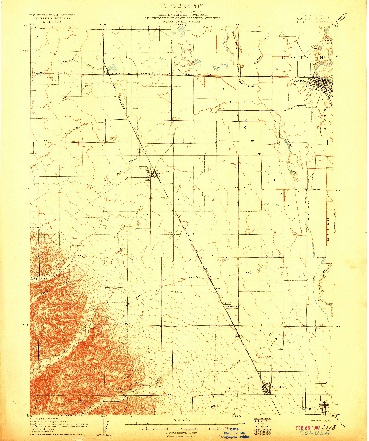 USGS 1:62500-SCALE QUADRANGLE FOR COLUSA, CA 1907