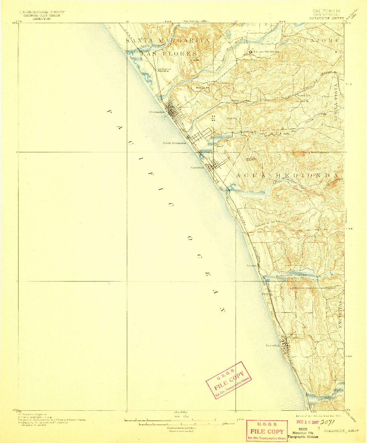 USGS 1:62500-SCALE QUADRANGLE FOR OCEANSIDE, CA 1901