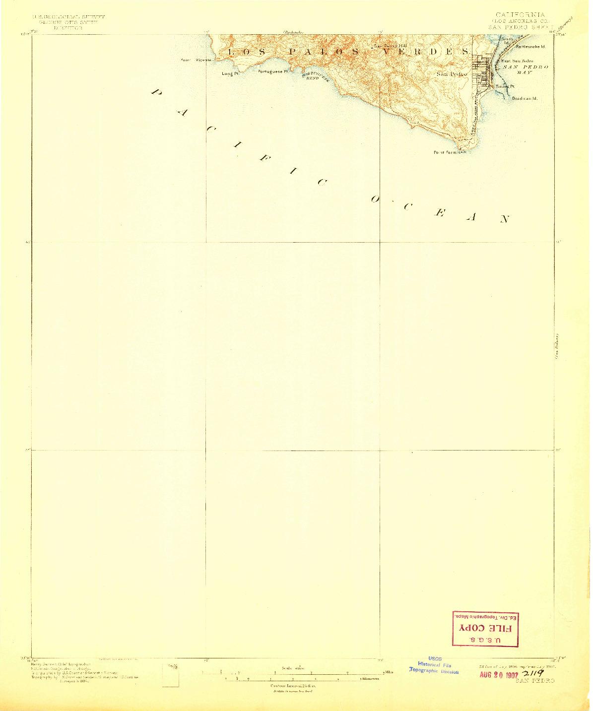 USGS 1:62500-SCALE QUADRANGLE FOR SAN PEDRO, CA 1896